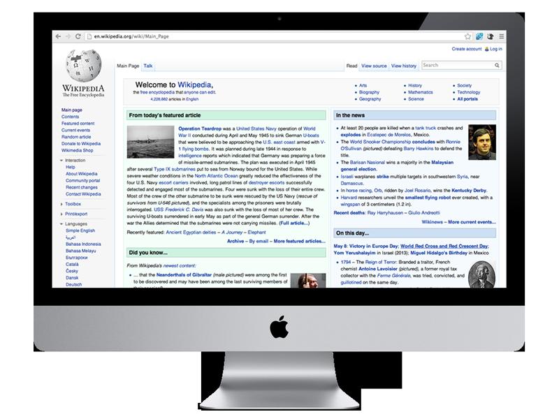 Wikipedia viewed on a desktop.