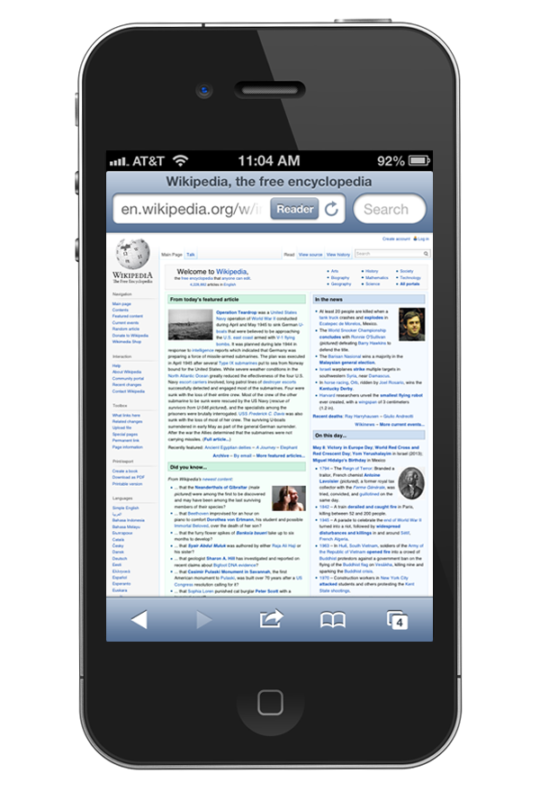 Wikipedia viewed on an iPhone - Desktop version