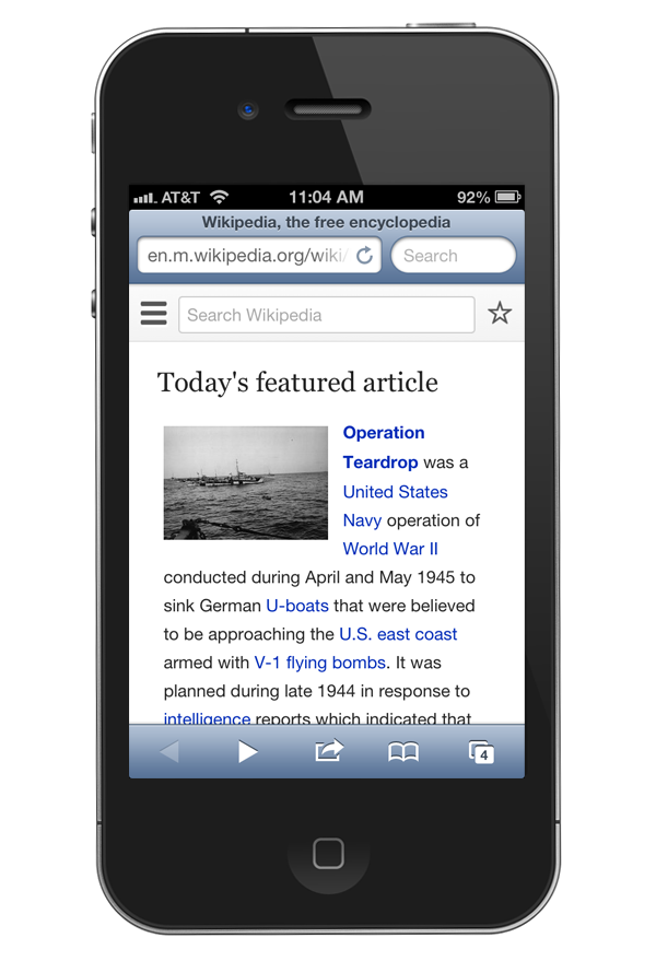 Wikipedia viewed on an iPhone - Mobile version